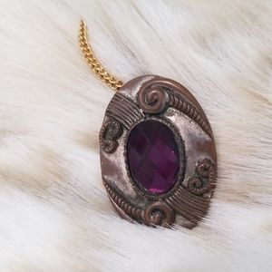 Vintage Jewelry - Unique Vintage Pendant with Purple Stone
